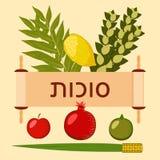 sukkot Festa giudaico cristiana Simboli tradizionali - Etrog, lulav, hadas, arava Rotolo di Torah Testo ebraico - sukkot Apple, m illustrazione vettoriale