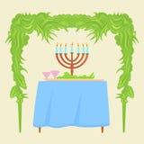 Sukkot Festival greeting card design  template. Royalty Free Stock Photos