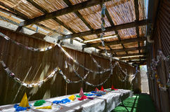 Sukkot Jewish Holiday. Interior of a Sukkah on Sukkot Jewish Holiday Royalty Free Stock Photo