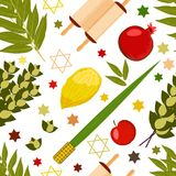Sukkot. Judaic holiday. Traditional symbols - Etrog, lulav, hadas, arava. Torah scroll. Apple, pomegranate, figs. Star of David. S. Sukkot. Concept of Judaic stock illustration