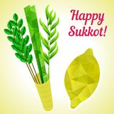 Sukkot symbols - four species - palm, willow, myrtle , etrog citron. Jewish religious New Year holidays. royalty free illustration