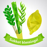 Sukkot symbols - four species - palm, willow, myrtle , etrog Royalty Free Stock Images