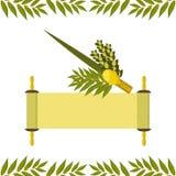 sukkot Vacances judaïques Symboles traditionnels - Etrog, lulav, hadas, arava Défilement de Torah illustration de vecteur