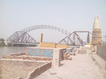 Sukkur lancedown bridge. This is the historical landmark in the city of Pakistan called Sukkur stock image