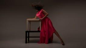 sukni długa różowa kobieta Zdjęcia Stock