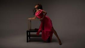 sukni długa różowa kobieta Obraz Royalty Free