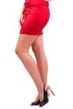 suknia iść na piechotę czerwonej kobiety Zdjęcie Royalty Free
