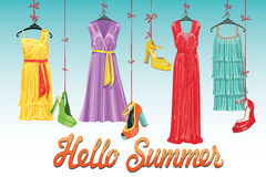 Suknia i buty Cześć lato! Moda Illustrtion ilustracji