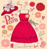 Suknia i kapelusz ilustracji
