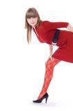 suknia nad target654_0_ czerwonej białej kobiety Zdjęcia Royalty Free