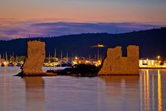 Sukosan old ruin on the sea sunset view Stock Photos