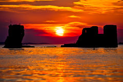 Sukosan old ruin on the sea sunset view, Royalty Free Stock Image