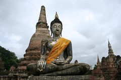 Sukothai large seated buddha statue thailand Royalty Free Stock Photo