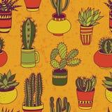 Sukulenty uprawiają ogródek - bezszwowego wzór Obrazy Stock