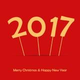 2017 sul bastone Nuovo anno felice e Buon Natale Manifesto o automobile Immagini Stock