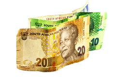 Sul - cédulas africanas nas denominações de 10, de 20 e de 100 Fotografia de Stock