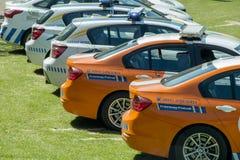 Sul - carros de polícia africanos - centre-se sobre a polícia da autoestrada Imagens de Stock