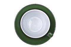 Sul colpo della tazza di caffè verde vuota Immagine Stock