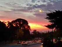 Sul da Austrália ajustado do sol dos montes de Adelaide Foto de Stock