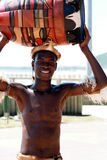 Sul - dançarino africano do tribo Zulu foto de stock