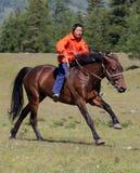 Sul horseback attraverso la steppa fotografia stock libera da diritti