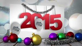2015 sul manifesto con le decorazioni stock footage