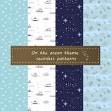 Sul modello senza cuciture dell'oceano Immagini Stock Libere da Diritti