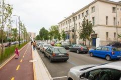 Sul percorso della bici in Bourgas, la Bulgaria Fotografia Stock