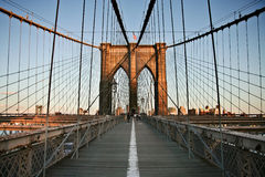 Sul ponte di Brooklyn Fotografia Stock