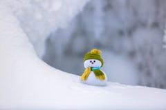Sul pupazzo di neve solo della neve strutturata lanuginosa bianca Immagini Stock Libere da Diritti