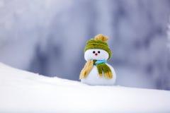 Sul pupazzo di neve solo della neve strutturata lanuginosa bianca Immagine Stock