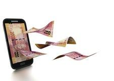 sul rendido 3D - dinheiro africano da margem inclinado e isolado no fundo branco ilustração royalty free