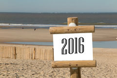 2016 sul segno di legno Fotografia Stock