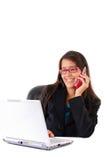 Sul telefono Fotografia Stock