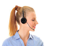 Sul telefono dalla donna di divagazione Immagini Stock Libere da Diritti