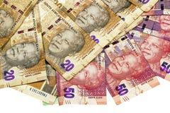 Sul - vinte africanos e cinqüênta Rand Bank Notes Fotografia de Stock
