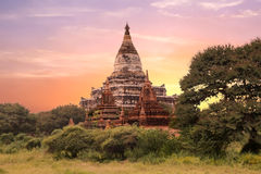 The Sulamani Temple in Bagan, Myanmar at sunset Royalty Free Stock Photography