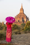 Sulamani Temple. A lady dressed in Burmese clothes at Sulamani Temple Royalty Free Stock Photos