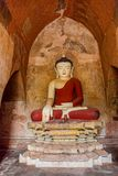Sulamani temple. Old renovated sculpture of a seated Buddha inside of Sulamani temple in Bagan, Myanmar Stock Photography