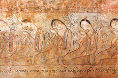 Sulamani Temple Wall Paintings, Bagan, Myanmar. The Sulamani Temple is a Buddhist temple located in the village of Minnanthu in Myanmar. It was built in 1183 by Royalty Free Stock Image