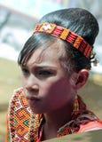 SULAWESI - 25 augustus, 2014: portret van jong Torajan-meisje in RT Stock Afbeeldingen