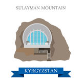 Sulayman Mountain in Kyrgyzstan vector flat attraction landmarks Stock Images