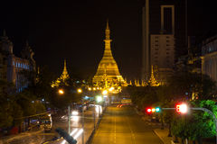 Sule Pagoda at night, Yangon, Myanmar Stock Photo