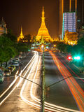 Sule Pagoda at night, Yangon, Myanmar Royalty Free Stock Photos