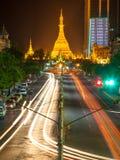 Sule Pagoda at night, Yangon, Myanmar Royalty Free Stock Photos