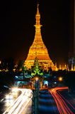 Sule Pagoda at night, Yangon, Myanmar Stock Photos