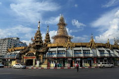 The Sule Pagoda of Rangoon in Myanmar Stock Images