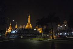 Sule Pagoda after sunset Royalty Free Stock Image