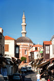 Suleiman清真寺在中世纪市罗得岛 库存照片