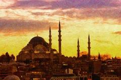 Suleiman清真寺数字式绘画 免版税库存照片